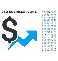 Price Growth Icon with Flat Set vector image vector image