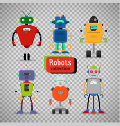 cute cartoon robots on transparent background vector image