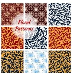 Floral decoration seamless patterns set vector image vector image