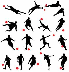 football silhouettes vector image vector image