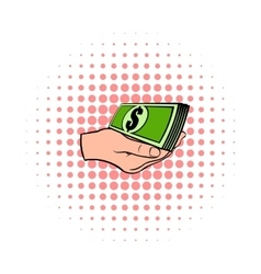 Hand with dollar bills icon comics style vector image vector image