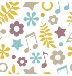 Light seamless pattern of stars notes and leaves vector image vector image