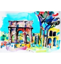 original freehand watercolor travel card from Rome vector image vector image