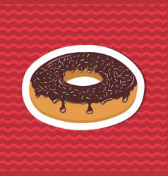 Sticker of glazed donut on red striped background vector