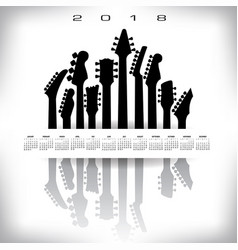 2018 calendar with a whitespace musical banner vector image vector image