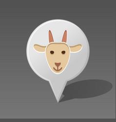Goat pin map icon animal head vector