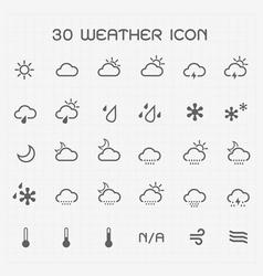 Monotone weather icon set vector image