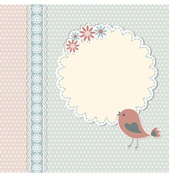 Vintage template with bird and flowers vector image