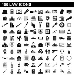 100 law icons set simple style vector