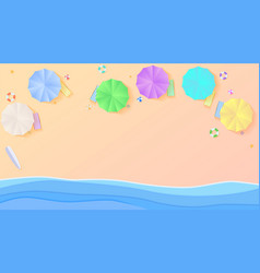 Aerial view summer beach in paper craft style vector