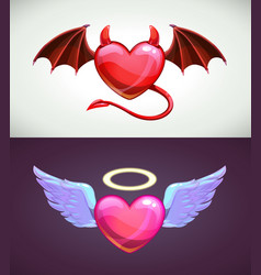 Angel and devil hearts love concept icons vector