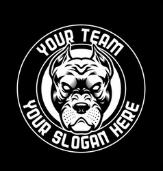 Angry pitbull head black and white vector