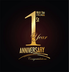 anniversary golden sign 1 year vector image