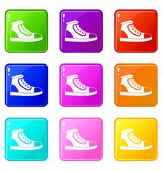 Athletic shoe set 9 vector