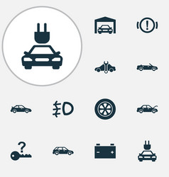 auto icons set with not key foglight cabriolet vector image