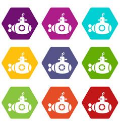 Bathyscaphe with hatch icons set 9 vector