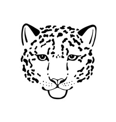 Black and white sketch head of leopard vector