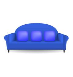 blue soft sofa mockup realistic style vector image