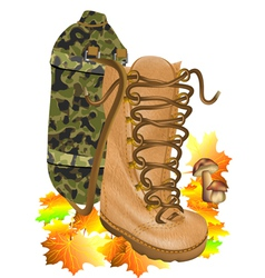 boot traveling on autumn leves vector image