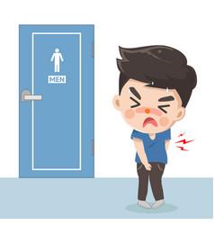 Boy is diarrhea front toilet men vector