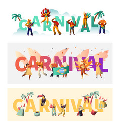 Brazil carnival exotic costume typography poster vector