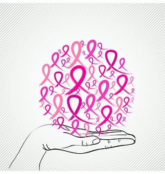 Breast cancer awareness human hand ribbon symbol vector image
