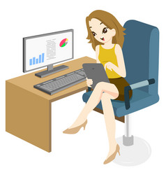 business woman feeling happy to surfing at office vector image
