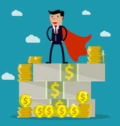 Businessman standing on huge pile of money vector