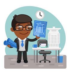 Cartoon architect in office vector