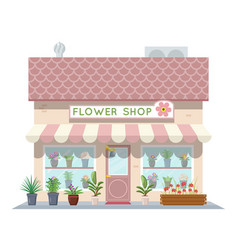 cartoon flower shop building green natural vector image