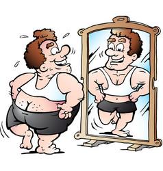 Cartoon of a fat man as he thinks he looks vector