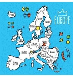 Cartoon style hand drawn travel map europe vector