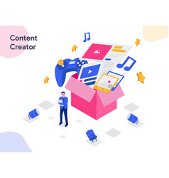 content creator isometric modern flat design vector image