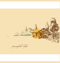 Countryside peaceful life hand drawing old small vector