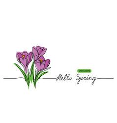 crocuses blossom sketch doodle hello vector image