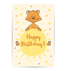 cute cartoon cat with sun in hands happy birthday vector image