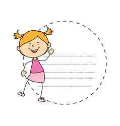 Cute little girl card character vector