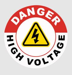 Danger high voltage floor sign vector