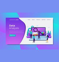 data analysis flat design concept landing page vector image