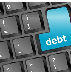 debt key in place of enter key - business concept vector image
