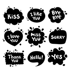 different phrases written in a cartoon style vector image