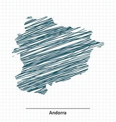 Doodle sketch of Andorra map vector image