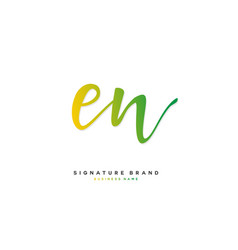 E n en initial letter handwriting and signature vector