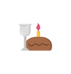 easter cake candle and wine linear icon vector image