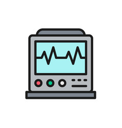 Ekg machine with pulse icu monitor vector