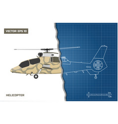 Engineering blueprint of military helicopter vector