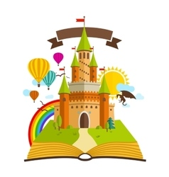 Fairy Tale castle with Book vector