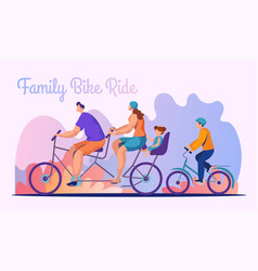 family bike ride flat banner template vector image
