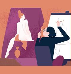 female artist depict naked live model sitting vector image