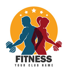 Fitness club emblem with training bodybuilders vector